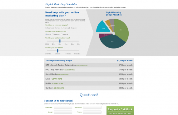 digital marketing calculator screenshot 1