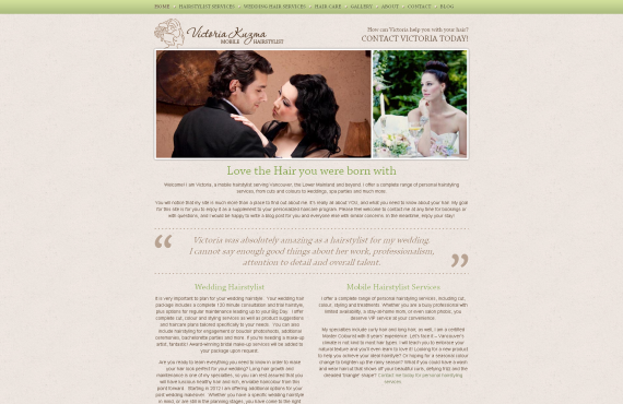 vancouver mobile hair stylist psd to wordpress project screenshot 1