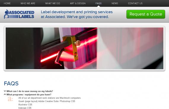 associated labels. psd to wordpress development screenshot 2