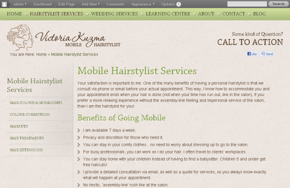 vancouver mobile hair stylist psd to wordpress project screenshot 3