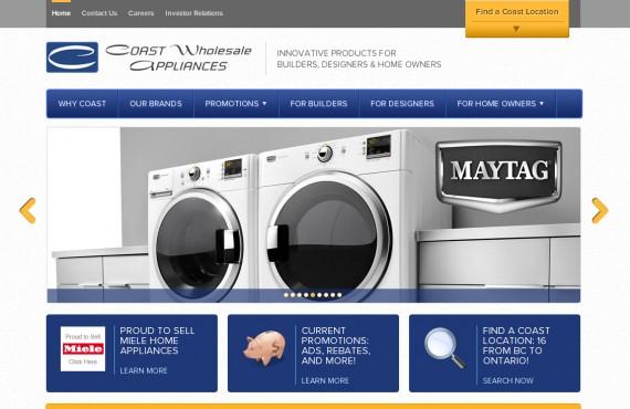 coast appliances. psd to wordpress development screenshot 1