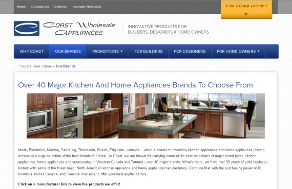 coast appliances. psd to wordpress development screenshot 3
