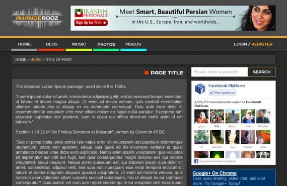 graphic design for ahangerooz website screenshot 2
