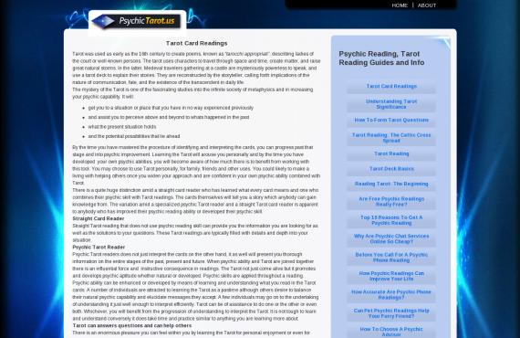 psychictarot: services selling wordpress website customization screenshot 1
