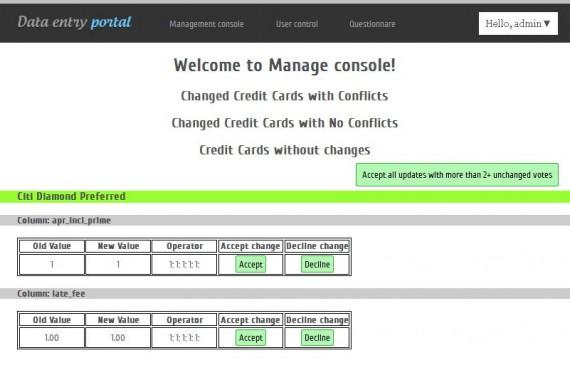 development of credit card data entry portal screenshot 1