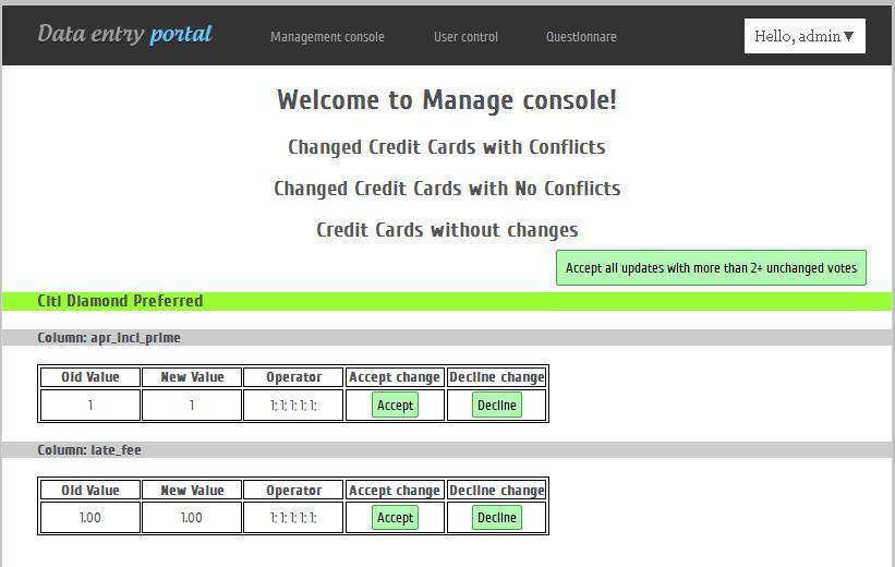 development of credit card data entry portal screenshot 2