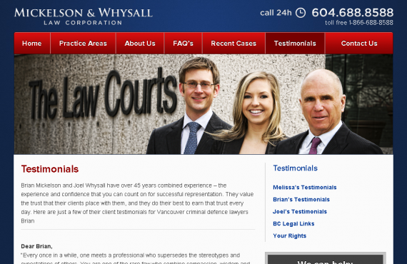 criminal lawyer vancouver psd to wordpress development screenshot 1
