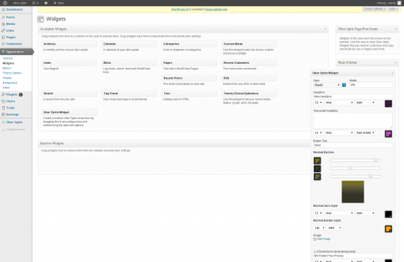 "wordpress plugin customization ""uber-optin"" screenshot 1"