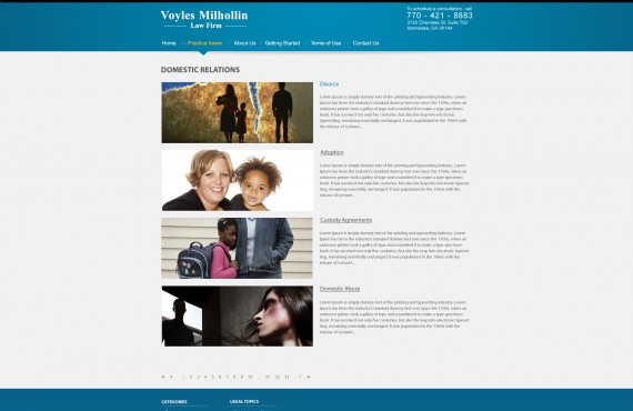 graphic design creation for wordpress website for legal attorney company screenshot 1