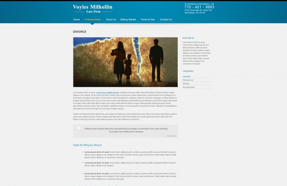 graphic design creation for wordpress website for legal attorney company screenshot 2
