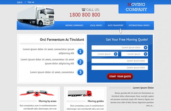home page design creation for the moving company screenshot 2