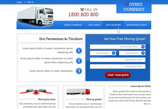 home page design creation for the moving company screenshot 3