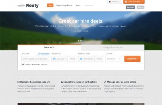 renty – car rental & booking psd template screenshot 2