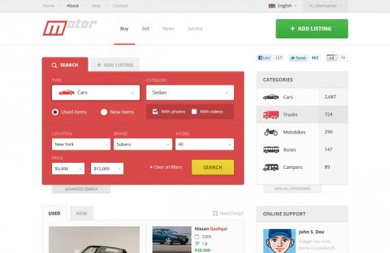 motor – vehicle marketplace psd template screenshot 1
