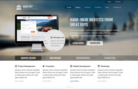 analyst – business & agency psd template screenshot 2