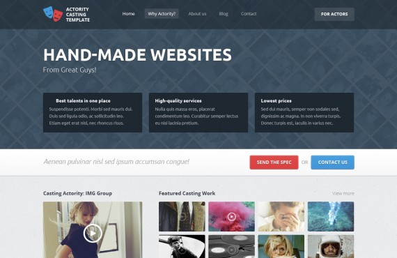 actority – psd template for casting agencies screenshot 1