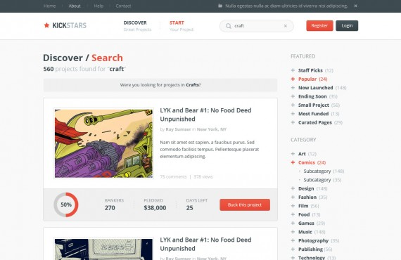 kickstars – crowdfunding psd template screenshot 2