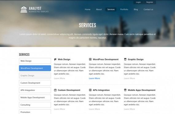 analyst – business & agency psd template screenshot 4