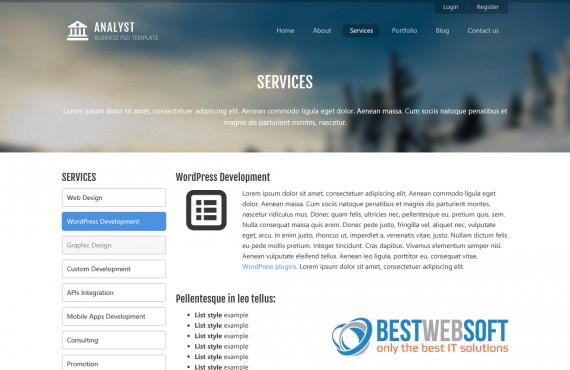 analyst – business & agency psd template screenshot 5