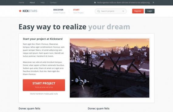 kickstars – crowdfunding psd template screenshot 6