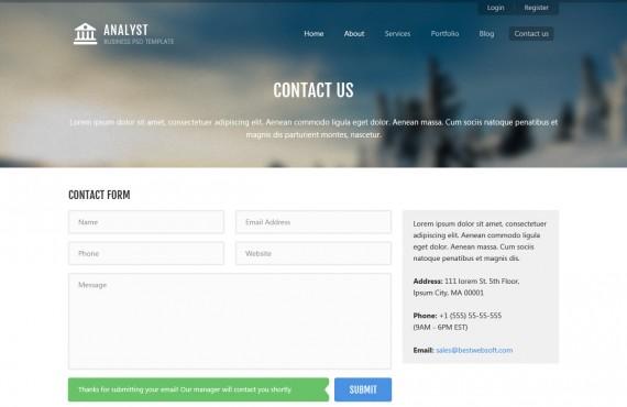 analyst – business & agency psd template screenshot 10