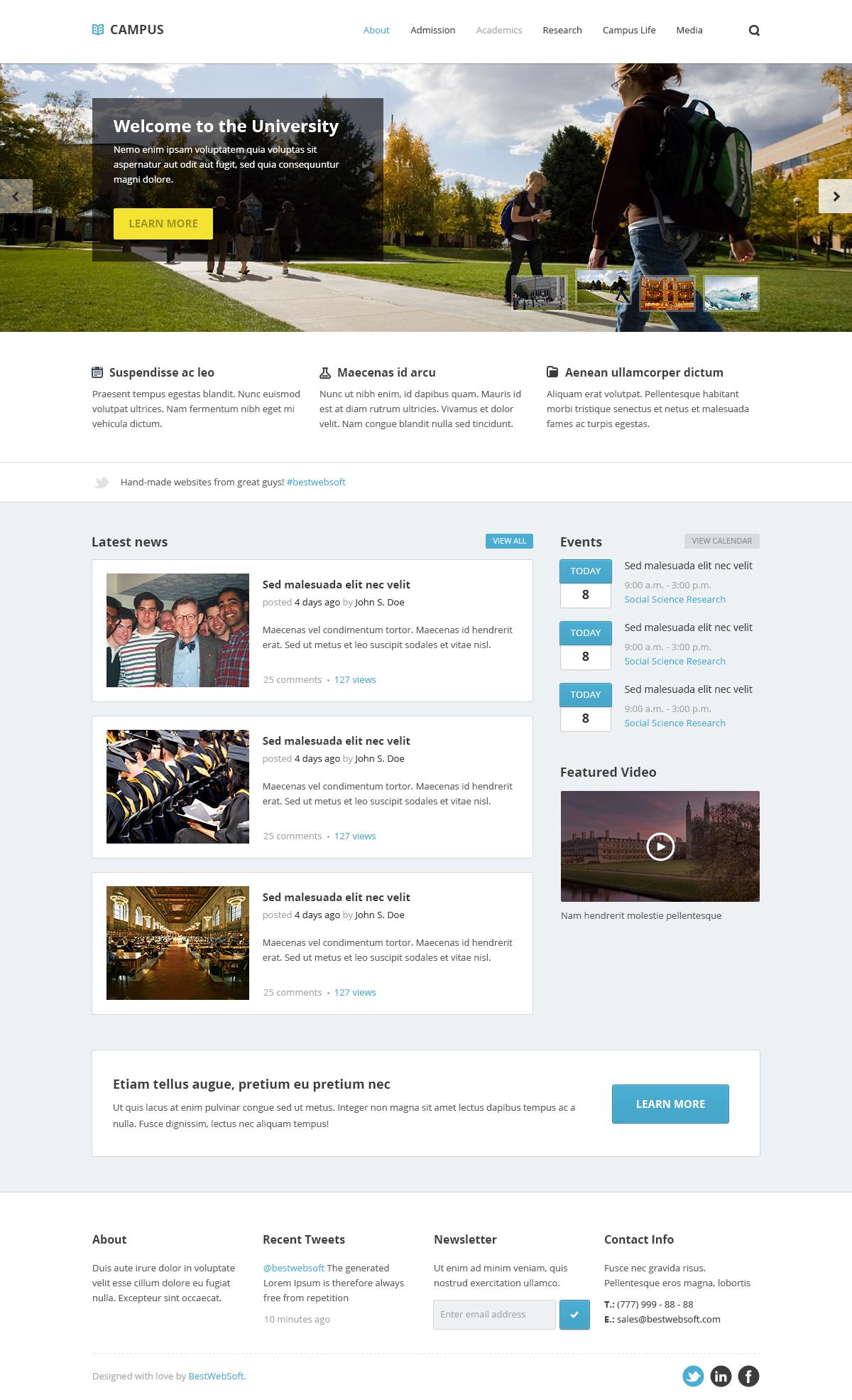 campus – university psd template screenshot 2