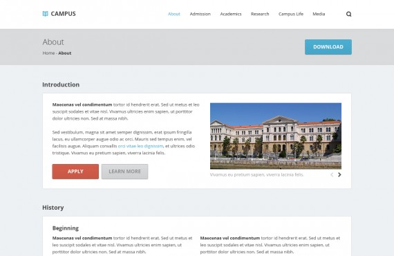 campus – university psd template screenshot 3