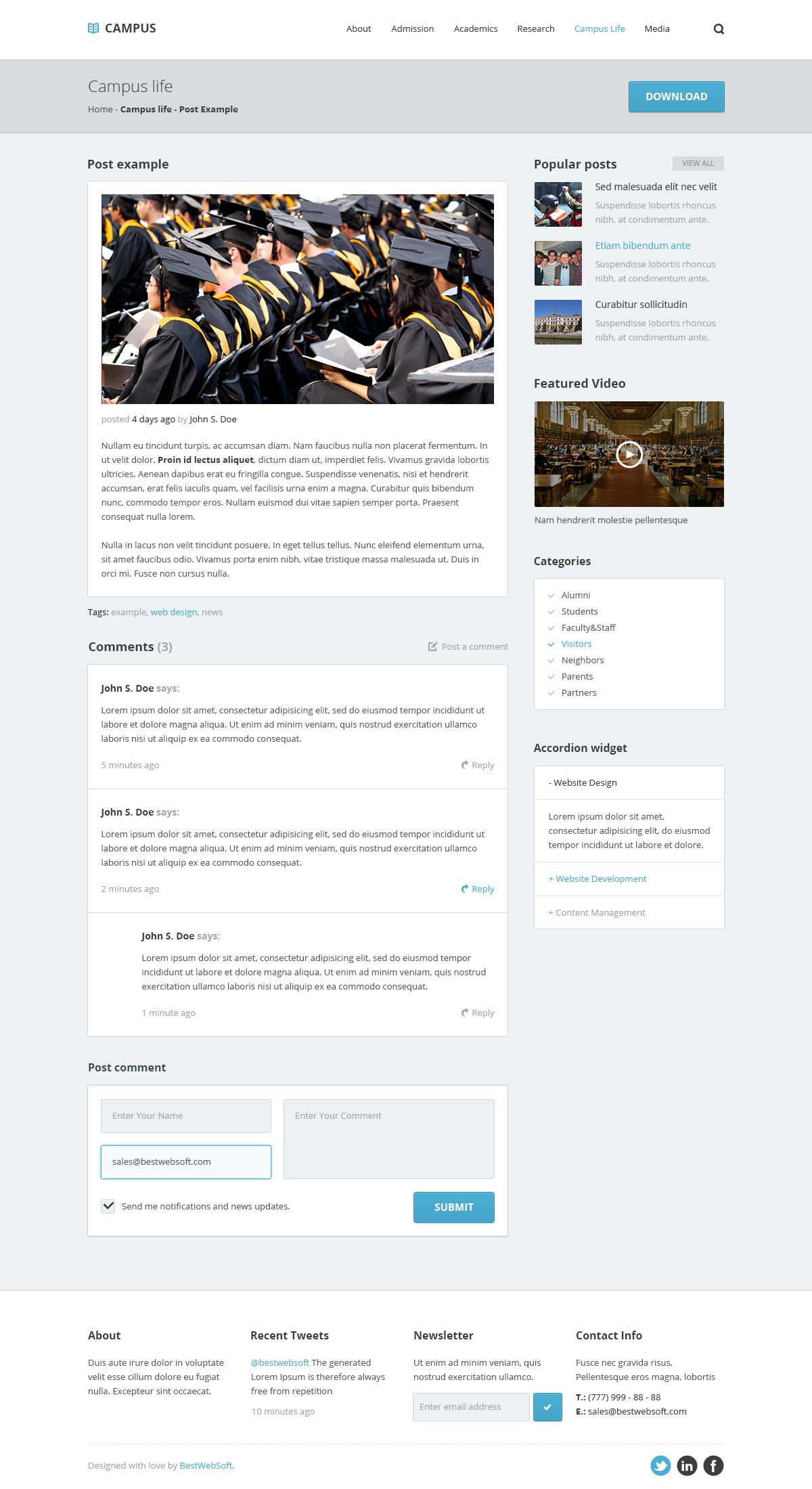 campus – university psd template screenshot 7