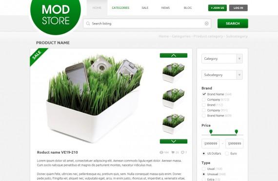 modstore – online shop psd template screenshot 2