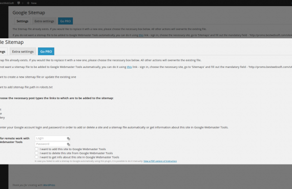 wordpress google sitemap plugin screenshot 1