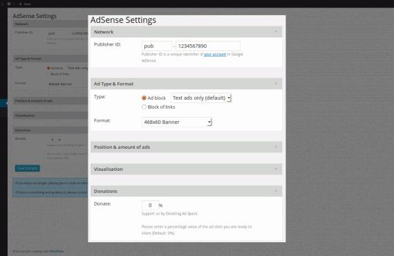 wordpress google adsense plugin screenshot 1