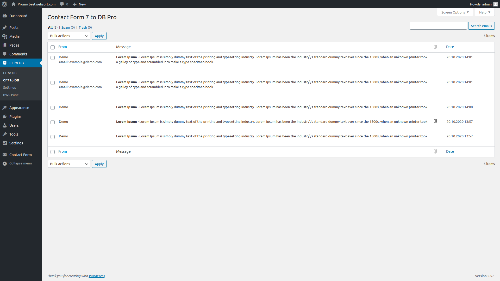 contact form to db screenshot 6