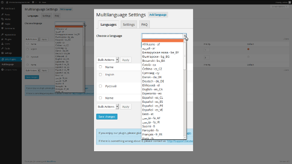 Plugin setting page with a form to add a language