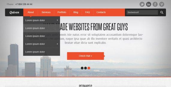 quiven – creative psd template screenshot 1