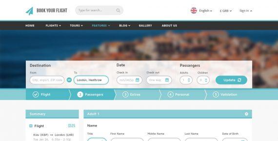 book your flight – booking psd template screenshot 4