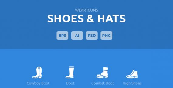 wear icons – shoes & hats vector pack screenshot 1