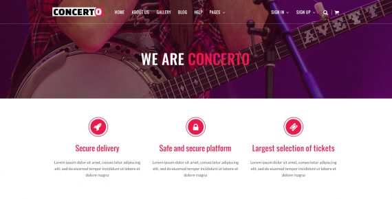 concerto – music events & tickets psd template screenshot 1