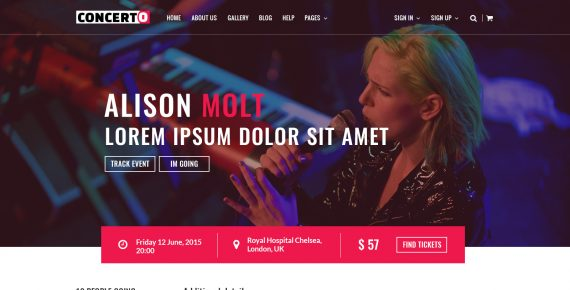 concerto – music events & tickets psd template screenshot 5