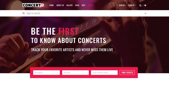 concerto – music events & tickets psd template screenshot 13