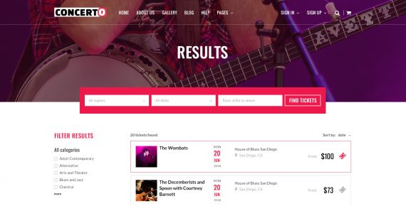 concerto – music events & tickets psd template screenshot 16
