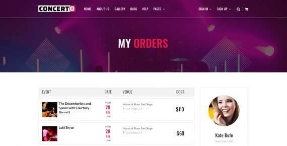 concerto – music events & tickets psd template screenshot 22