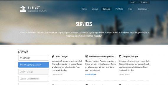 analyst – business & agency psd template screenshot 12
