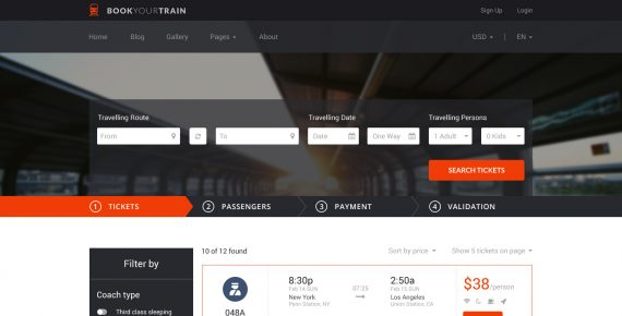 book your train – online booking psd template screenshot 16