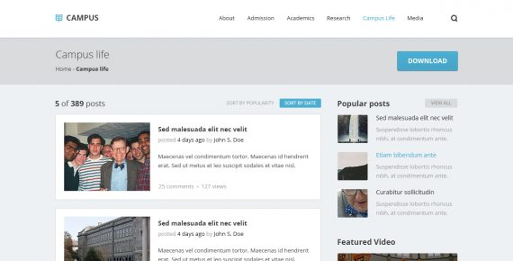 campus – university psd template screenshot 4