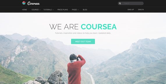 coursea – online tutorials & courses psd template screenshot 2