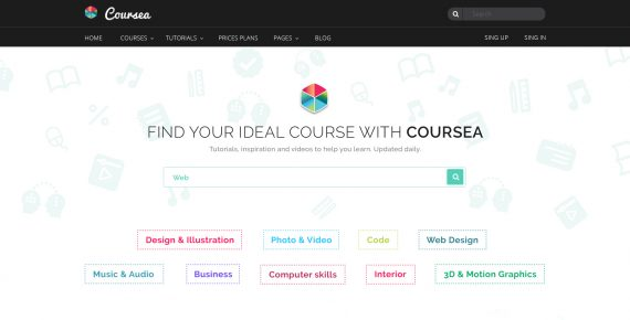 coursea – online tutorials & courses psd template screenshot 3