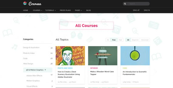 coursea – online tutorials & courses psd template screenshot 4