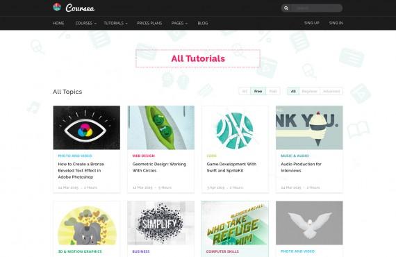 coursea – online tutorials & courses template screenshot 3