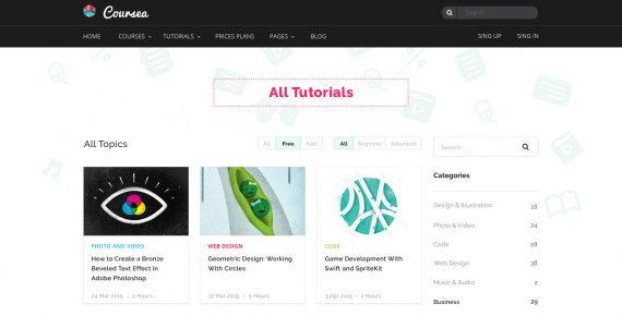coursea – online tutorials & courses psd template screenshot 7