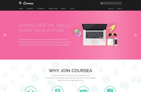 coursea – online tutorials & courses template screenshot 1